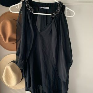 JLO sheer black flowy beaded top